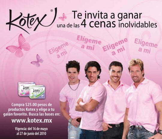 ¡Kotex te invita una Cena Inolvidable! elige entre Gabriel Soto, David Zepeda, Eleazar Gómez y Erick Elías